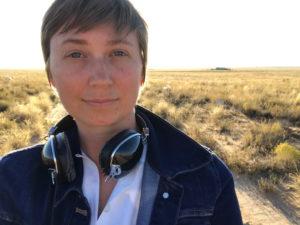 Image of Jessica Zeglin while recording field audio.
